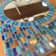Blue mosaic mirror